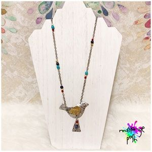 Asymmetrical Chain Beaded Bird Pendant  Necklace